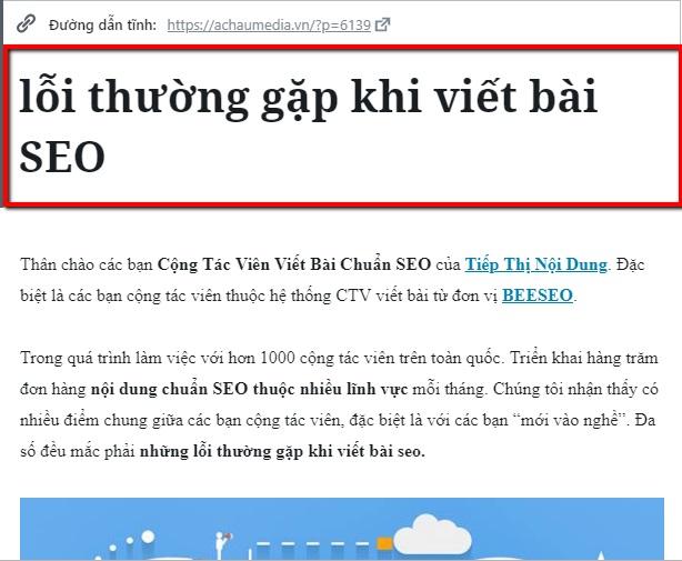 lỗi đặt tiêu đề heading 1 khi viết bài chuẩn seo