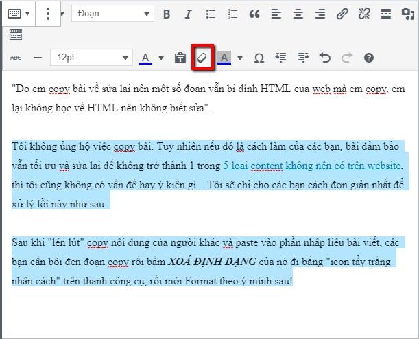 lỗi định dang html khi viết bài